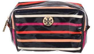 Tory Burch Striped Vinyl Cosmetic Bag