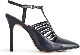 Reiss EDYTH STRAPPY POINT COURT SHOES Navy
