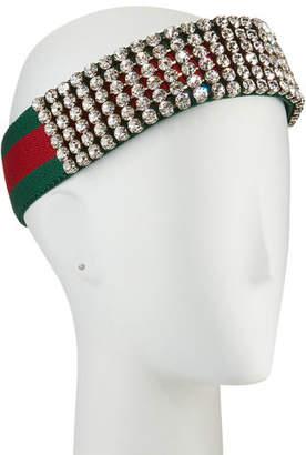 Gucci Crystal Embellished Web Headband