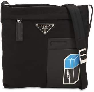 Prada Nylon Crossbody Bag W/ Leather Patch