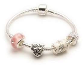 Parfait Liberty Charms Teacher 'Pink Parfait' Silver Sparkle Charm/Bead Bracelet. With Gift Box & Velvet Pouch (Other sizes available) (23.00)