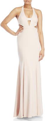 Jay Godfrey Sand Alexander V-Neck Cutout Gown