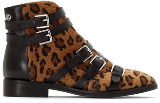919fcbaf0d075 Le Temps Des Cerises Izy 2 Leopard Print Ankle Boots with Buckled Straps