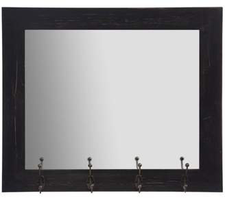 Gallery Solutions Rustic Black Entryway Wall Mount Mirror with Hooks