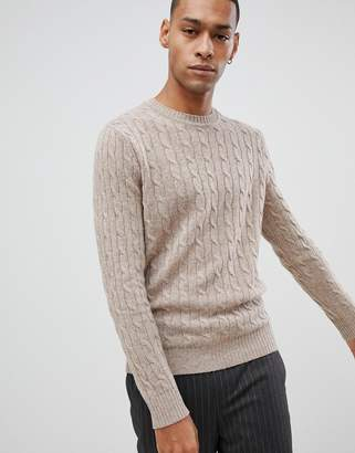 Moss Bros lambswool jumper with cable knit in camel