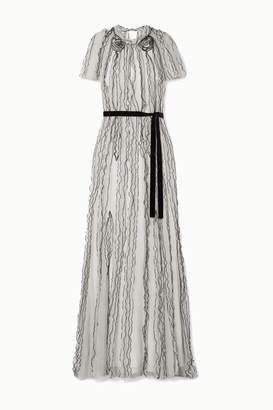 Jason Wu Collection - Belted Ruffled Polka-dot Silk-crepon Gown - White
