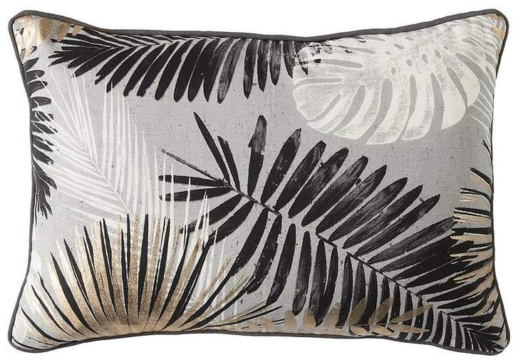 Monochrome And Gold Palm Leaves Cushion