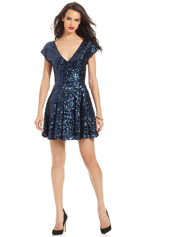 French Connection Dress, Short-Sleeve V-Neck Sequined