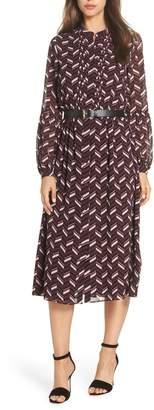 MICHAEL Michael Kors Chevron Belted Midi Dress