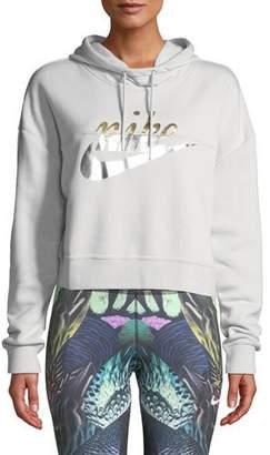 Nike Rally Metallic-Logo Crop Hoodie Sweatshirt