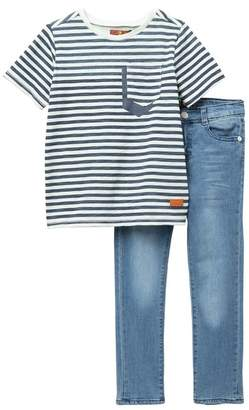 7 For All Mankind Stripe Top & Jeans Set (Toddler Boys)
