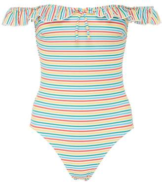 Solid & Striped 'The Amelia' ruffle stripe one-piece swimsuit