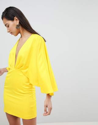 Asos Design Satin Cape Kimono Sleeve Deep Plunge Mini Dress