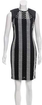 Yigal Azrouel Leather-Accented Eyelet Dress