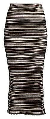 Herve Leger Women's Striped Tea Length High-Waisted Skirt