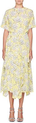 Valentino Floral-Print Short-Sleeve A-Line Midi Dress