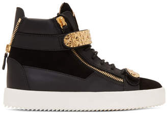 Giuseppe Zanotti Black and Gold Archer Dual High-Top Sneakers
