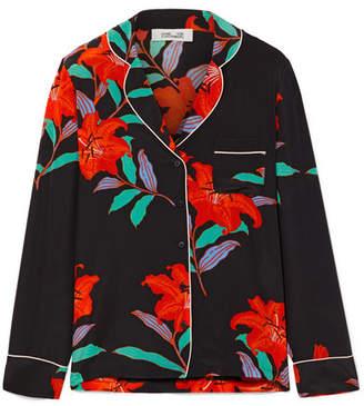 Diane von Furstenberg Floral-print Silk Crepe De Chine Shirt - Black
