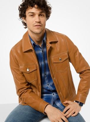 Michael Kors Leather Trucker Jacket