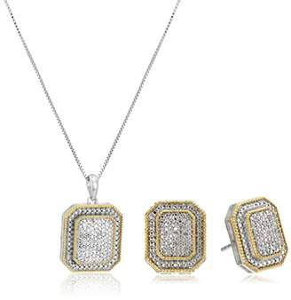 Sterling Silver Diamond Earrings and Pendant Necklace Jewelry Set