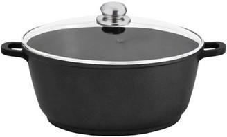 EnergyPro 7-Quart Non-Stick Aluminum Stock Pot with Tempered Glass Lid, Black