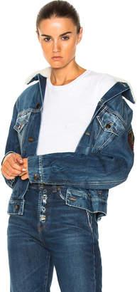 Saint Laurent Shearling Trim Patch Denim Jacket