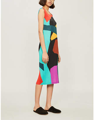 Pleats Please Issey Miyake Clumpy Colour pleated dress
