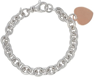 14k Rose Gold Over Silver & Sterling Silver Heart Charm Bracelet
