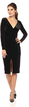 Betsey Johnson Women's Long Sleeve V-Neck Velvet Dress