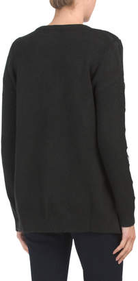 Pullover Sweater With Faux Leather Trim