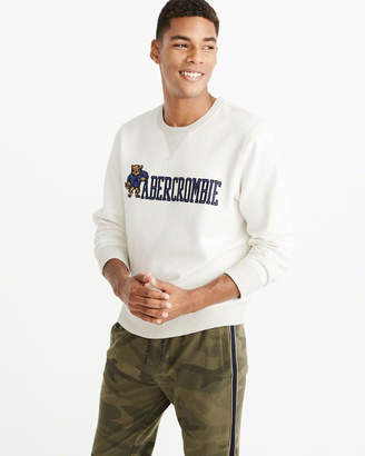 Abercrombie & Fitch Heavyweight Heritage Logo Crew Sweatshirt