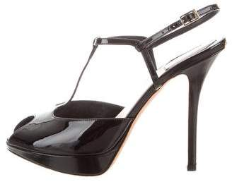 Christian Dior Patent Leather Peep-Toe Sandals