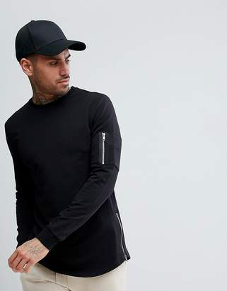 Asos DESIGN Longline Muscle Sweatshirt With MA1 Pocket And Curved Hem