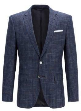 BOSS Hugo Slim-fit micro-patterned jacket pocket square 42R Open Blue