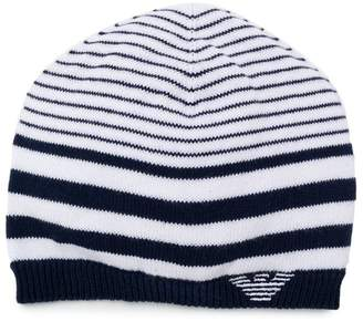 c6d3b87a Emporio Armani Kids knitted striped beanie hat