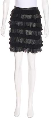 Christian Dior Tiered Leather-Paneled Skirt