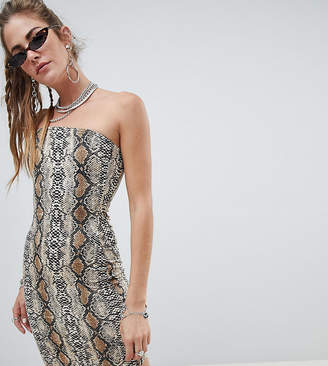 One Above Another bodycon bandeau dress in snake print