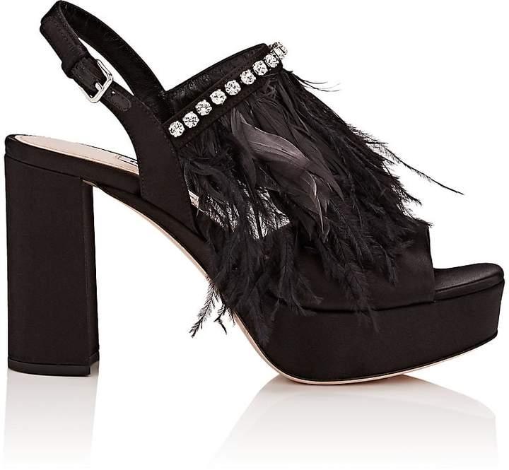 Miu Miu Women's Embellished Satin Platform Sandals