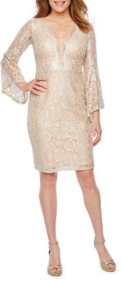 BLU SAGE Blu Sage Long Bell Sleeve Lace Sheath Dress