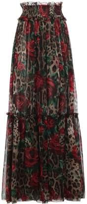 Dolce & Gabbana Leopard Floral Skirt