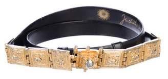 Judith Leiber Embellished Leather Belt