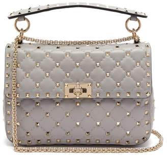 Valentino - Rockstud Spike Medium Quilted Leather Shoulder Bag - Womens - Light Grey