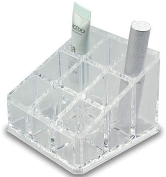 SWEET HOME COLLECTION Acrylic Cosmetic Organizer- 9 Compartment Lipstick and Nail Polish Holder (4.75x4.75x2.75)