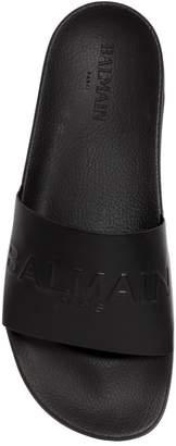 Balmain Logo Embossed Leather Slide Sandals