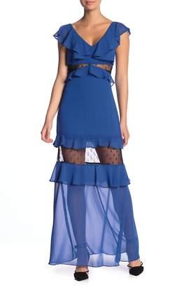 BCBGeneration Overlay Tiered Maxi Dress