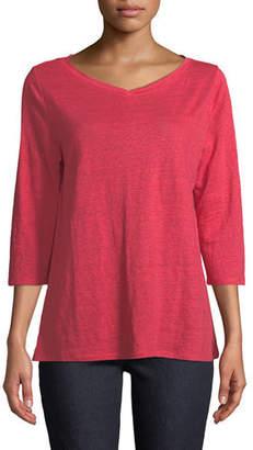 Eileen Fisher 3/4-Sleeve Organic Linen Jersey Tee