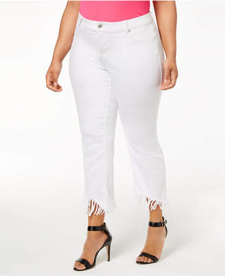 INC International Concepts I.n.c. Plus Size Fringed Cropped Jeans, Created for Macy's