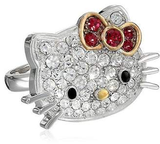Hello Kitty Sterling Silver Czech Crystal Flat Face & Red Bow Ring - Size 7