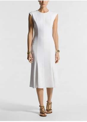 St. John Stretch Viscose Cady Fit Flare Dress Lined