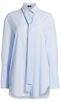 Akris Women's Striped Cotton Poplin Tie-Neck Blouse